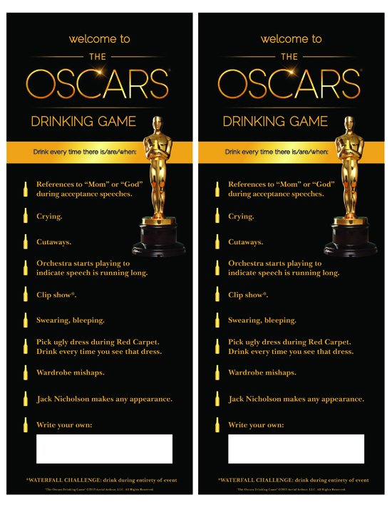 The Oscars Drinking Game printout